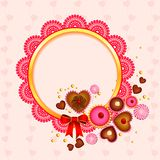 Victorian lace frame with love candy Stock Images