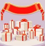 Vector Illustration vieler Geschenkboxen über Hintergrund mit rotem Band Stockfoto