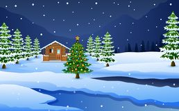 View of snowy wooden house and Christmas tree decoration. Vector illustration of View of snowy wooden house and Christmas tree decoration vector illustration