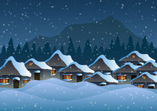 Vector illustration. Village in the snow against the backdrop of forests and mountains. Stock Photography