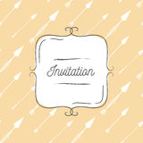 Vector illustration of vintage background with arrows and hand drawn frame. Template for greeting card, wedding invitation or menu Stock Photo