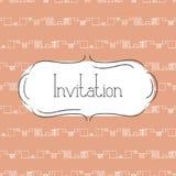 Vector illustration of vintage background and frame. Template for greeting card, wedding invitation or menu. Tender orange color Stock Photography