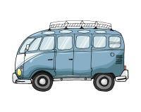 Vector illustration, vintage blu bus vector illustration