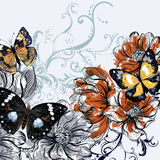 Vector illustration with vintage butterflies and magnolia flower Royalty Free Stock Photo