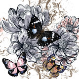 Vector illustration with vintage butterflies and magnolia flower Royalty Free Stock Image