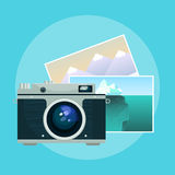 Vector illustration of vintage camera and pix. Royalty Free Stock Photography