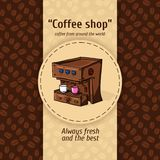 Vector illustration of vintage coffee backgrounds. Automatic machine for coffee with two small circles. Menu for restaurant. Stock Photos