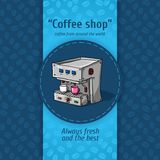 Vector illustration of vintage coffee backgrounds. Automatic machine for coffee with two small circles. Menu for restaurant. Royalty Free Stock Photo