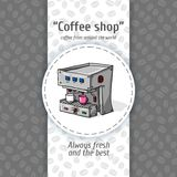 Vector illustration of vintage coffee backgrounds. Automatic machine for coffee with two small circles. Menu for restaurant. Royalty Free Stock Image