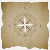 Vector illustration with a vintage compass or wind rose on grunge background. With basic directions. stock illustration