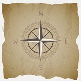 Vector illustration with a vintage compass or wind rose on grunge background. With basic directions North, East, South and West vector illustration