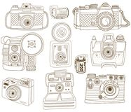 Vintage Doodle Camera Collections royalty free illustration