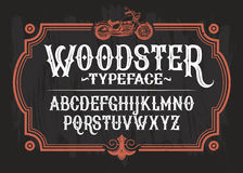 Vector illustration of a vintage font, the Latin alphabet in a retro frame with a custom motorcycle. Template, design element stock illustration