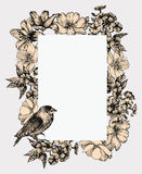 Vector illustration. Vintage frame with blooming flowers and bir Stock Photo