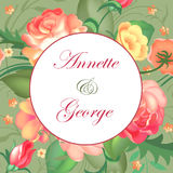 Vector illustration of a vintage frame on floral background for invitations and birthday cards. Vector illustration of a vintage frame on floral background and stock illustration