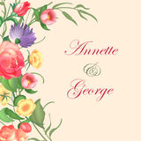 Vector illustration of a vintage frame on floral background for invitations and birthday cards. Vector illustration of a vintage frame on floral background and vector illustration