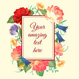 Vector illustration of a vintage frame on floral for invitations and birthday cards. Vector illustration of a vintage frame on floral and for invitations and stock illustration