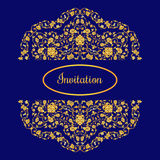 Vector illustration with vintage gold round ornament and place for text. Design elements for invitation, greeteing cards, banners, backgrounds Royalty Free Stock Images