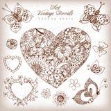 Vector illustration vintage heart set zentangl in colors, rose, butterfly, dudlart, zenart. Adult coloring books. Royalty Free Stock Image