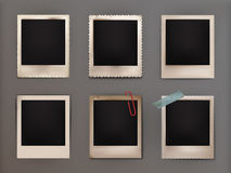 Vector illustration vintage photo frames with shadow. Set vector illustrations vintage photo frames with shadow, adhered to the adhesive tape, attached clip Royalty Free Stock Photography