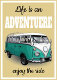 Vector illustration of vintage posters, retro a minibus for trav Royalty Free Stock Photography