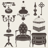 Vector illustration of vintage retro decor items Royalty Free Stock Photo