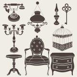 Vector illustration of vintage retro decor items. Set Royalty Free Stock Photo