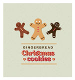 Vector Illustration vintage retro Greeting card with Gingerbread Cookies. Royalty Free Stock Image