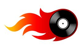 Vector illustration of vintage retro vinyl record icon with flam. Vector illustration of vintage retro vinyl record icon with simple flames. Ideal for stickers Stock Image