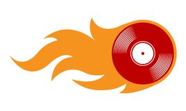 Vector illustration of vintage retro vinyl record icon with flam. Vector illustration of vintage retro vinyl record icon with simple flames. Ideal for stickers Stock Photography