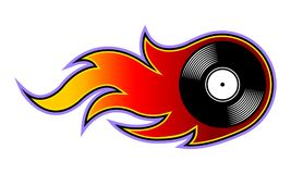 Vector illustration of vintage retro vinyl record icon with flames. stock illustration