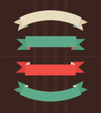 Vector illustration of vintage ribbons. On brown background Royalty Free Stock Images