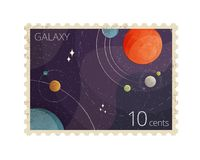 Vector illustration of vintage space postage stamp with planets shows Heliocentric system isolated on white background. Vector illustration of vintage space stock photos