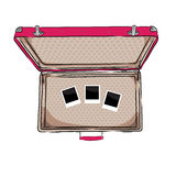Vector illustration of vintage suitcase with empty photos inside. EPS Royalty Free Stock Photos