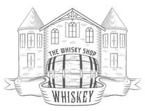 Vector Illustration Vintage Whiskey Shop Stock Photography