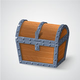 Vector illustration of vintage wooden chest with closed cover. On background vector illustration