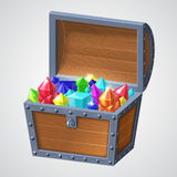 Vector illustration of vintage wooden chest with jewels open cover. Vector illustration of vintage wooden chest with open cover and glowing jewels. on white vector illustration