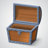 Vector illustration of vintage wooden chest with open cover. On white background stock illustration