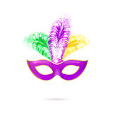 Vector illustration of violet Venetian carnival mask with colorful feathers Royalty Free Stock Photography