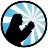 An illustration of Virgin Mary with a holy baby. A Vector illustration of Virgin Mary with a holy baby stock illustration