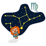 Vector illustration of the Virgo with a rectangular face. Cartoon Zodiac signs. A schematic arrangement of stars in the constellation Virgo Royalty Free Stock Image