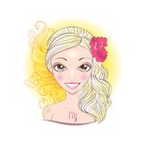 Vector illustration of Virgo zodiac sign. Royalty Free Stock Image