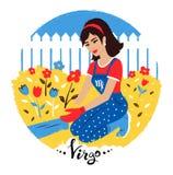Vector illustration of Virgo zodiac sign. Stock Photos
