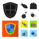 Vector illustration of virus and secure symbol. Set of virus and cyber stock vector illustration. vector illustration