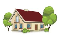 Isolated house building. Vector illustration of visualizing a house - isolated building Stock Image