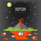 Vector illustration of a volcanic eruption. Beautiful mountain landscape, sky, clouds, stars, village houses. Material flat design. With volume elements and vector illustration