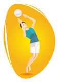 Vector illustration of a volleyball athlete. The athlete at the Olympic Games volleyball beats off Stock Photography