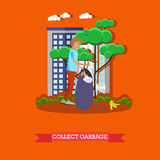 Vector illustration of volunteer collecting garbage in park, flat design. Vector illustration of volunteer man collecting garbage in the park, in the street Royalty Free Stock Photo