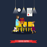 Vector illustration of volunteer giving gift to little girl Royalty Free Stock Photography