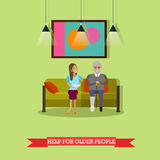 Vector illustration of volunteer helping older man with food. Vector illustration of volunteer young woman helping older man with food. Voluntary organizations vector illustration